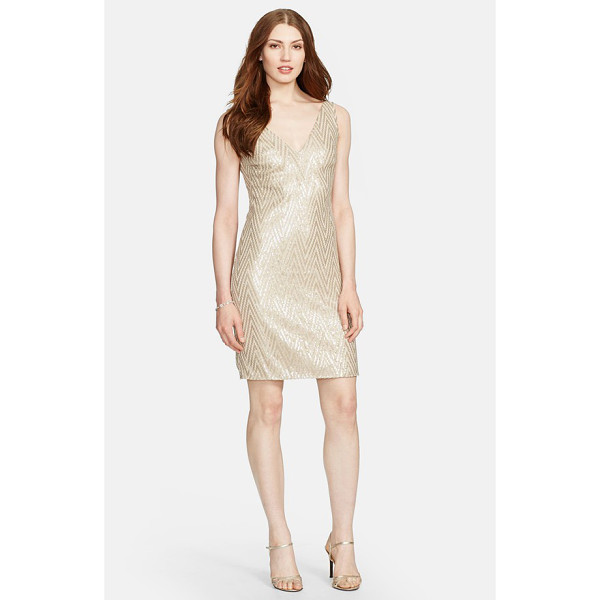 LAUREN RALPH LAUREN chevron sequin sleeveless dress - Chevrons of sequins shimmer across a sleek, sleeveless...