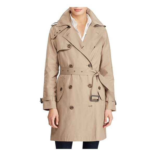 LAUREN RALPH LAUREN cotton blend a-line trench coat - Classic trench styling brings timeless appeal and everyday...