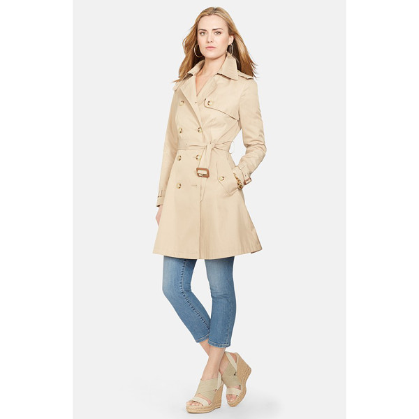 LAUREN RALPH LAUREN double breasted skirted trench coat - A spring trench in a flattering fit-and-flare silhouette...