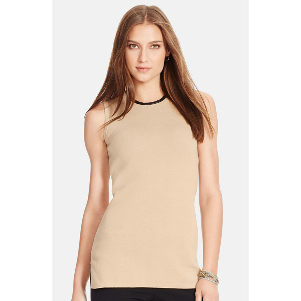LAUREN RALPH LAUREN faux leather trim sleeveless sweater - Sleek faux-leather trim at the neckline and back zip lends...
