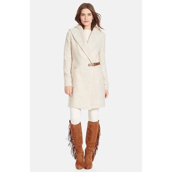 LAUREN RALPH LAUREN hooded tweed wrap front coat - A soft tweed coat infused with plenty of wool for cozy...
