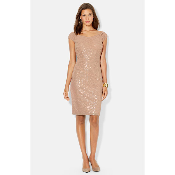 LAUREN RALPH LAUREN mesh overlay sequin dress - A sheer mesh overlay softens the shimmer of a sinuous...