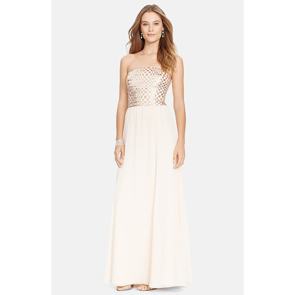 LAUREN RALPH LAUREN metallic bodice strapless chiffon gown - Metallic squares create a chic checkerboard pattern on the...
