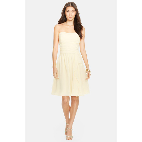 LAUREN RALPH LAUREN ruched chiffon fit & flare dress - Featherweight chiffon shapes a graceful strapless dress...