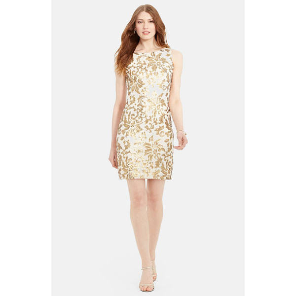 LAUREN RALPH LAUREN sequin lace sheath dress - A lovely sequined scroll pattern lends soft golden shimmer...