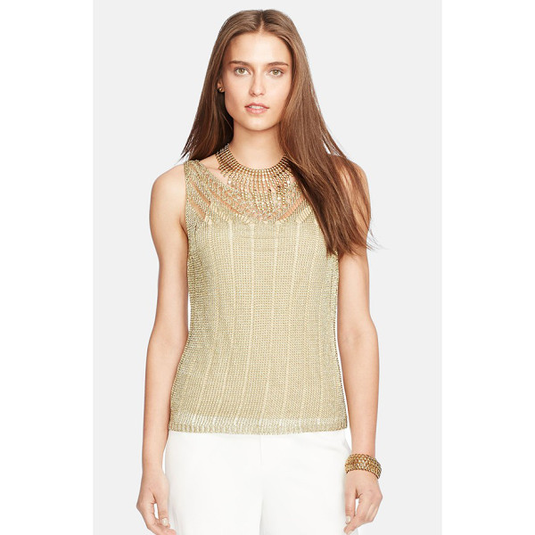 LAUREN RALPH LAUREN sleeveless metallic pointelle sweater - Glimmering gilded yarn brings day-to-night shine to a slim,...