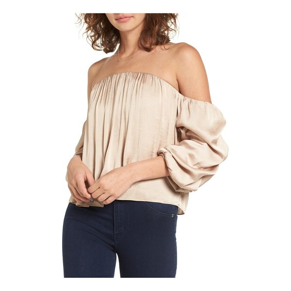 LEITH gathered satin off-the-shoulder top - A stunning off-the-shoulder neckline lets you bare an...