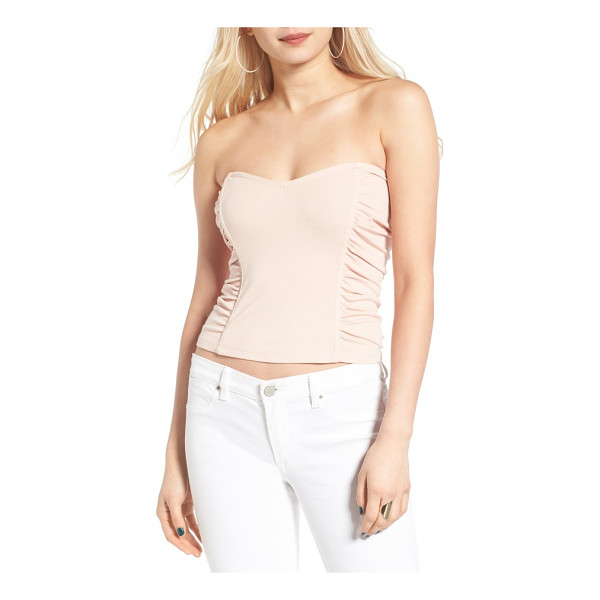 LEITH ruched strapless top - Structured panels and ruched details play up the feminine...