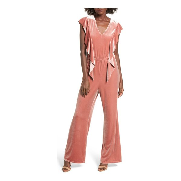 LEITH ruffle velour jumpsuit - Pretty ruffles cascade down the sides of this lustrous...