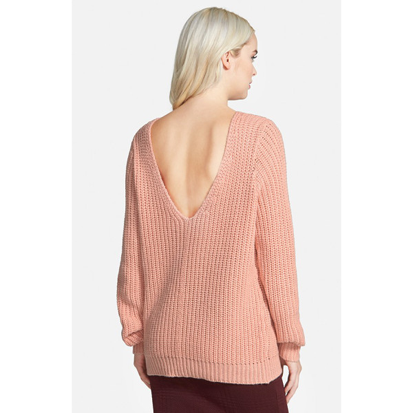 LEITH shaker stitch v-back sweater - A plunging V-back adds a flirty detail to an oversized...