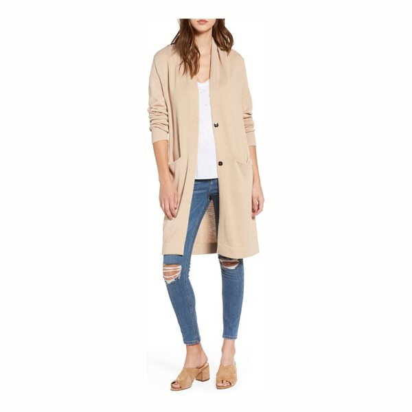 LEITH shawl collar cardigan - A slouchy long cardigan knit with nearly hidden front...