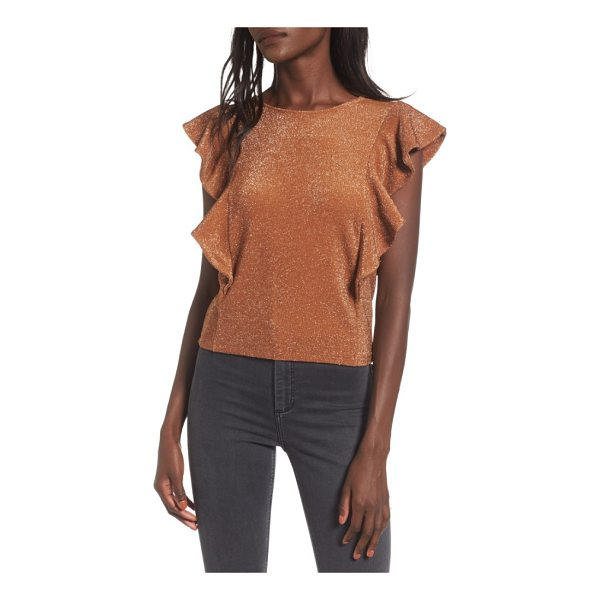 LEITH shine double ruffle top - Be your own spotlight in this cropped top knit with retro...