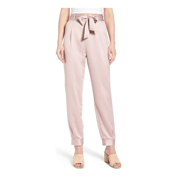 LEITH tie waist satin pants - These shimmering satin pants rest high on the waist and are...