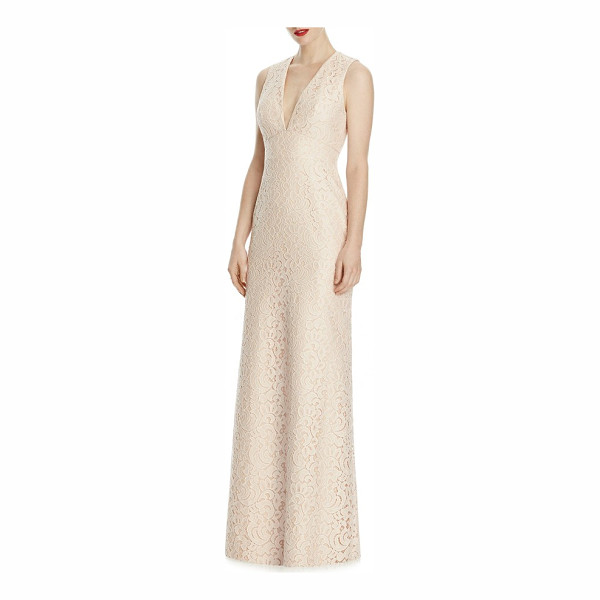 LELA ROSE v-neck lace a-line gown - Exquisitely detailed lace skims your curves in this...