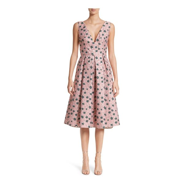 LELA ROSE floral matelasse a-line dress - Shimmering silver threads and lightly textured blossoms add...
