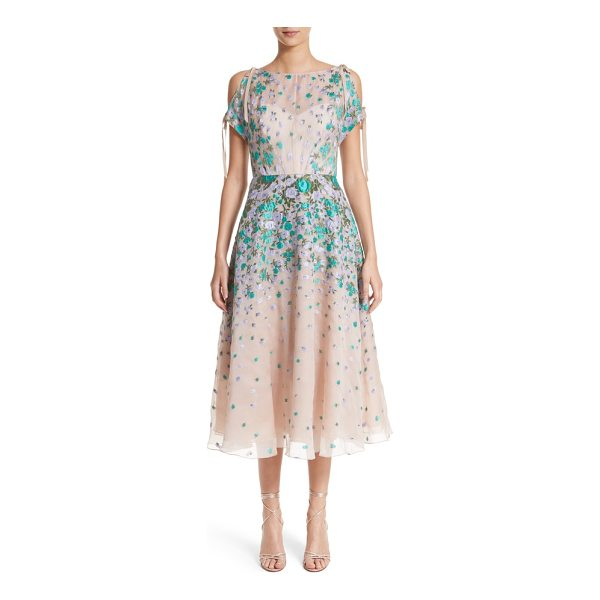 LELA ROSE floral matelasse cold shoulder dress - Textured petals of purple and turquoise float dreamily atop...
