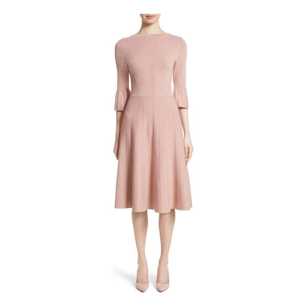 LELA ROSE metallic knit fit & flare dress - Tiny golden threads twinkle like sartorial stars trapped...
