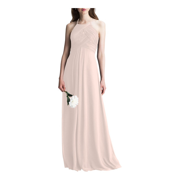 LEVKOFF # halter chiffon a-line gown - This dreamy chiffon gown is incredibly flattering from all...