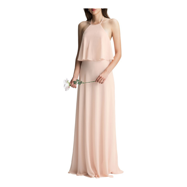 LEVKOFF # halter overlay chiffon gown - This beautifully draped chiffon gown is easy and elegant...