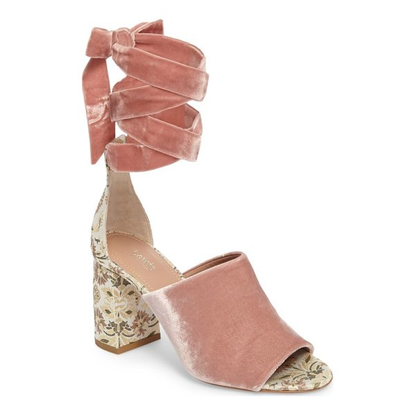 LEWIT liliana ankle wrap velvet sandal - A floral brocade-wrapped heel refreshes the style of a luxe...