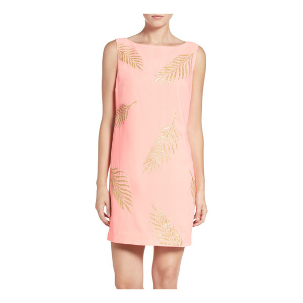 LILLY PULITZER Lilly pulitzer elaine sequin leaf shift dress - Palm fronds shimmer in embroidered golden sequins...