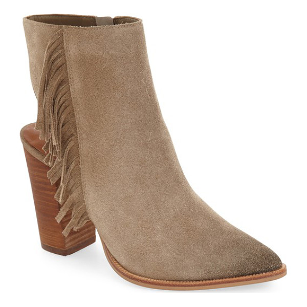 LINEA PAOLO 'elise' open back fringe bootie - Swingy fringe cascades down the side of a sleek suede