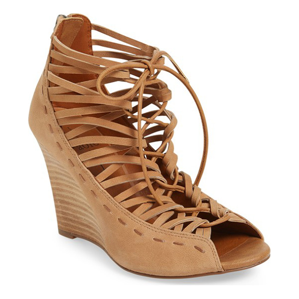 LINEA PAOLO willow cage wedge sandal - Slender straps and dramatic lacing ladder up the front of...