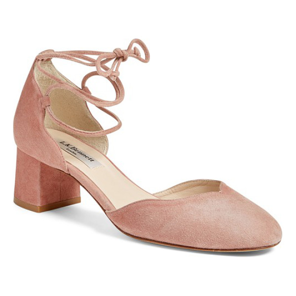 L.K. BENNETT 'lali' lace-up pump - Slender straps lace up the ankle of a lush suede d'Orsay...