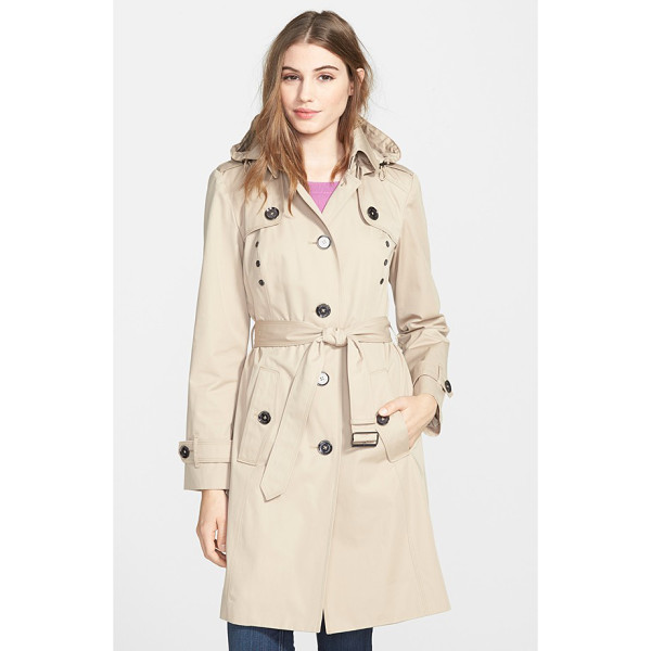 LONDON FOG grommet detail long hooded trench coat - The classic trench coat, complete with button-down flaps...