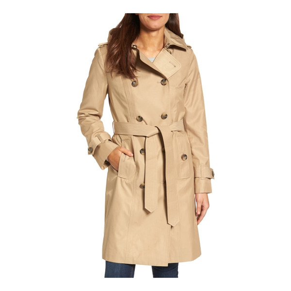 LONDON FOG hooded double breasted long trench coat - A classic raincoat, complete with belted cuffs and waist,...