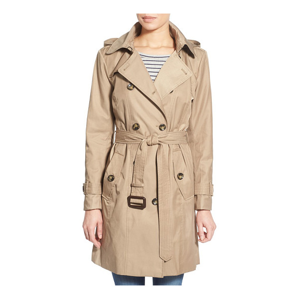 LONDON FOG hooded double breasted trench coat - A hood adds to the all-weather versatility of a...