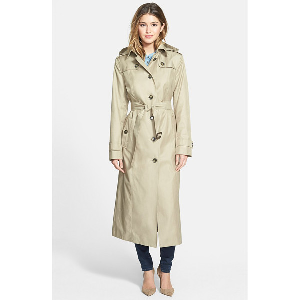 LONDON FOG hooded long single breasted trench coat - The classic trench coat, complete with button-down flaps...