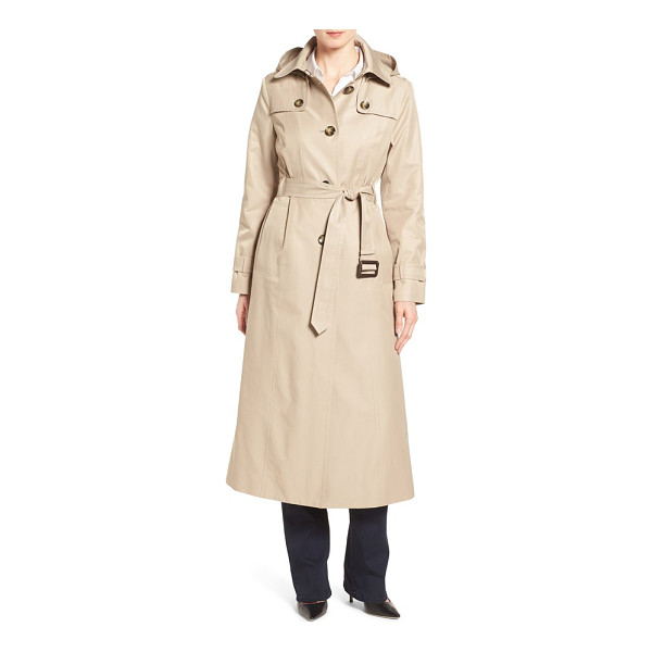 LONDON FOG long trench raincoat with removable hood - A longer, belted silhouette creates elegant lines and extra...