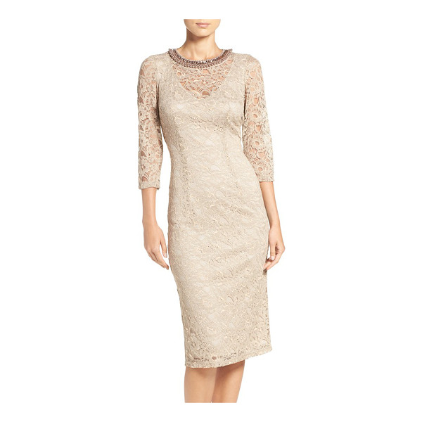LONDON TIMES embellished lace sheath dress - A glittery neckline glams up the sleek, smart silhouette of...