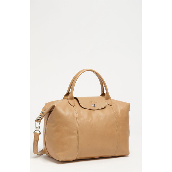 LONGCHAMP Le pliage cuir leather handbag - Silky leather upgrades a capacious top-handle tote perfect...