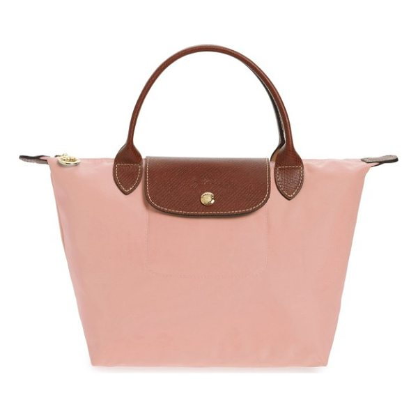 LONGCHAMP 'mini le pliage' handbag - Lightly textured leather borders a durable, water-resistant...