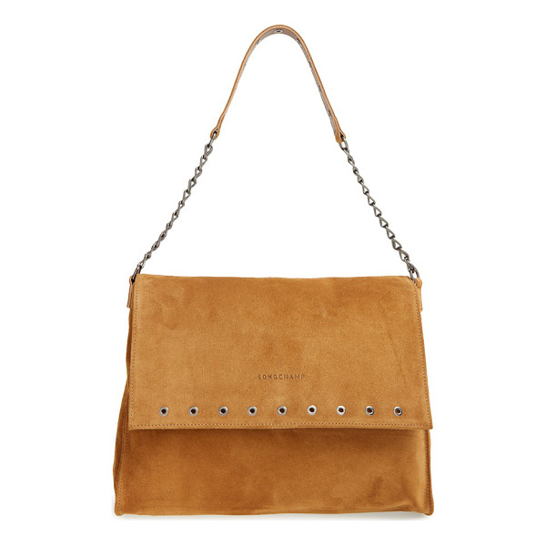 LONGCHAMP Paris rocks calfskin leather shoulder bag - A logo-stamped flap detailed with a row of polished...