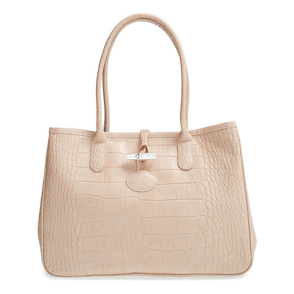 LONGCHAMP Roseau croco shoulder tote - Lacquered croc-embossed leather lends eye-catching texture...