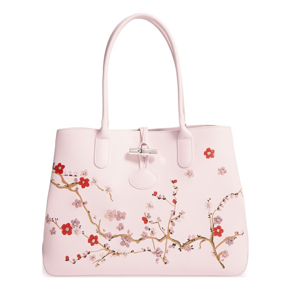 LONGCHAMP roseau sakura embroidered leather shoulder tote - A delicate cherry-blossom print with embroidered accents