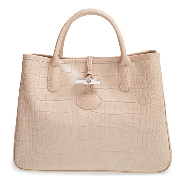 LONGCHAMP Small roseau croco shoulder tote - Lacquered croc-embossed leather lends eye-catching texture...