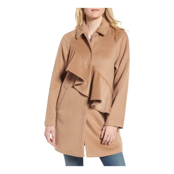 LOST INK frill front coat - A soft ruffle angles across a cozy club-collar coat infused...