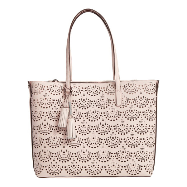 LOUISE ET CIE elay perforated leather tote - Slim over-the-shoulder handles top a roomy, lightly