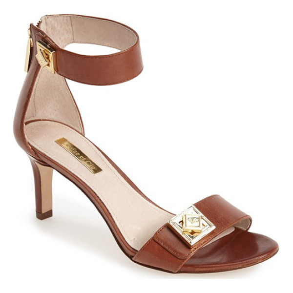 LOUISE ET CIE gwendolyn ankle strap sandal - Gleaming, geometric logo hardware adds interest to a modern...