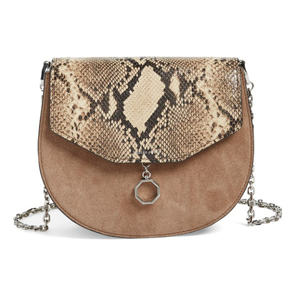 LOUISE ET CIE Jael suede & leather shoulder bag - Smooth leather perfectly juxtaposes the lush suede flap on...