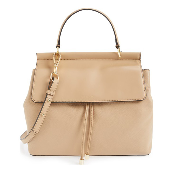 LOUISE ET CIE Towa leather satchel - A smooth leather flap contrasts with the pebbled texture of...