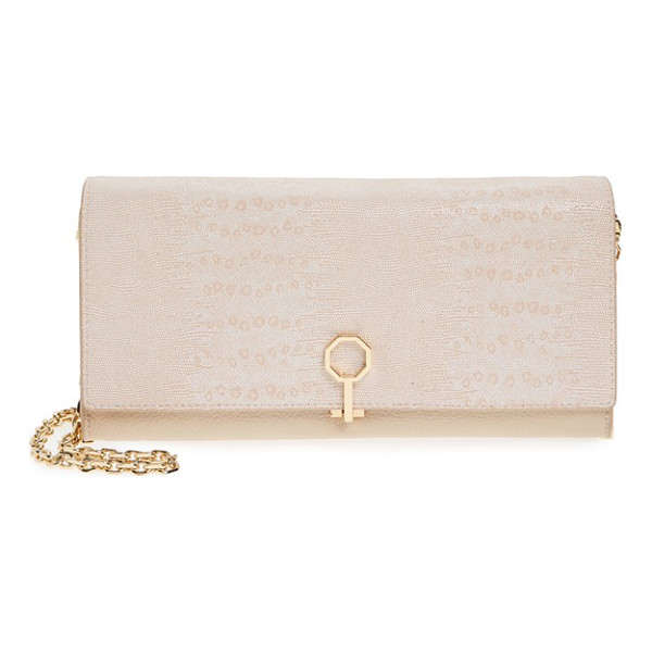 LOUISE ET CIE Yvet leather flap clutch - Distinctive octagonal hardware secures the lightly textured...
