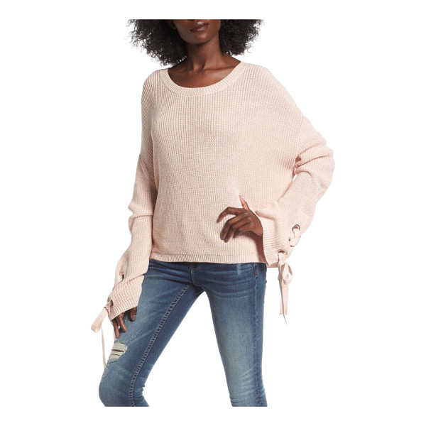 LOVE BY DESIGN grommet sleeve pullover - Lace-up ties thread through metal grommets at each flared...