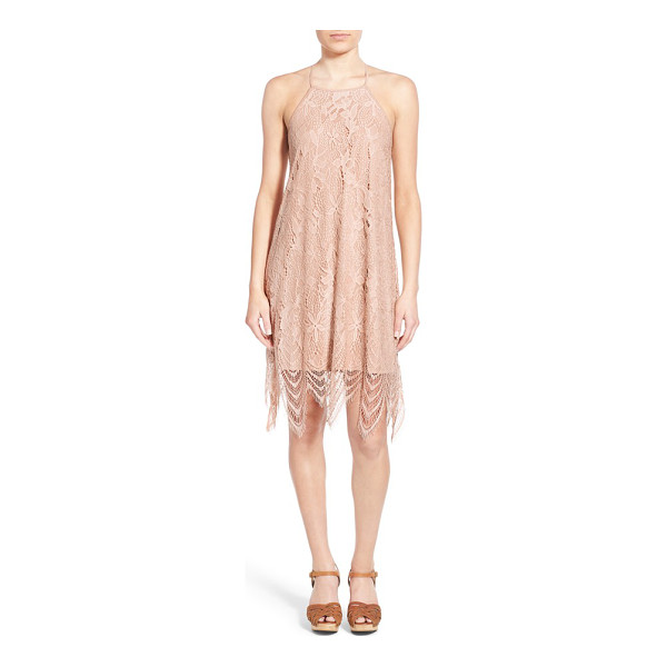 LOVE, FIRE lace shift dress - A delicate lace overlay enhances the whimsical essence of a...