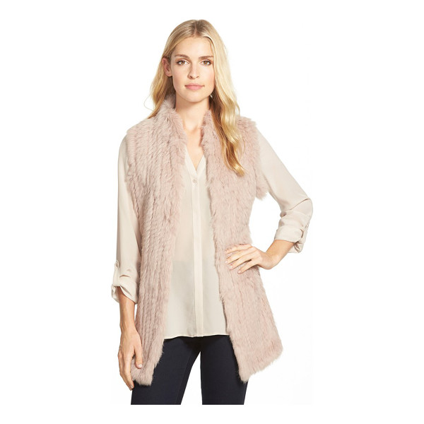 LOVE TOKEN genuine rabbit fur & knit vest - A long vest is crafted from sumptuously soft rabbit fur...