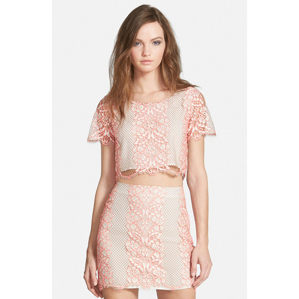 LOVERS + FRIENDS taluca lace crop top - Intricate floral embroidery and scalloped hems create...